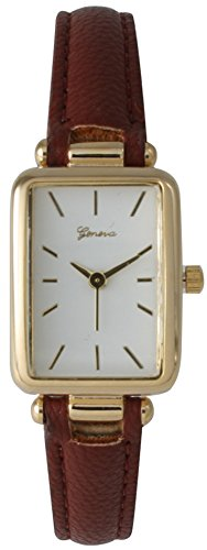 Geneva Leather Strap Watch With Gold Tone Rectangle Watch Face Case with White Dial ()