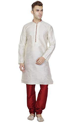 (SKAVIJ Men's Tunic Kurta Pajama Set Party Wear Dress (Medium, Off-White))