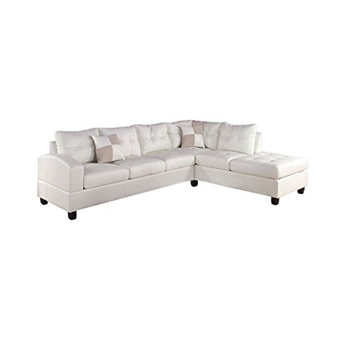 ACME Kiva White Bonded Leather Reversible Sectional Sofa with 2 Pillows (Living Leather Room White)