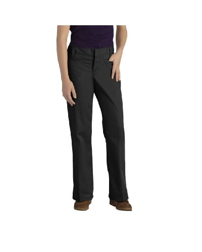 Dickies KP5111BK Girls' Stretch Welt Pocket Flare Bottom Pant (Black;7)