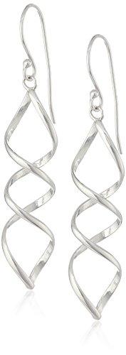 Sterling Silver Polished Spiral Dangle Earrings, (Silver Spiral Earrings)