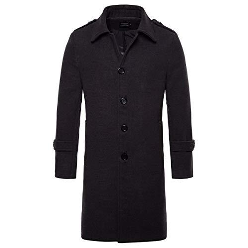 AOWOFS Men's Mid Long Wool Woolen Pea Coat Single Breasted Overcoat Winter Trench Coat (Dark Grey, X-Large) (Mens Trench Coat Single Breasted)