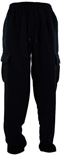 Mens Cargo Sweatpants with Drawstrings (XL, 652-BLACK) (Cargo Pocket Sweatpants)