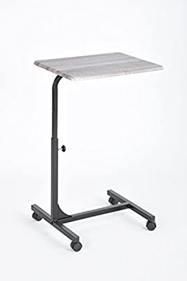 Grey Oak Top / Black Metal Adjustable Computer Laptop Breakfast Mobile Stand Cart
