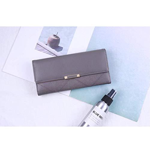 Fold Pu Zipper Grigio Multi Portafoglio Leather Ladies a colore Function Borsa tracolla Portafoglio Instant lungo qPxz68Bwf