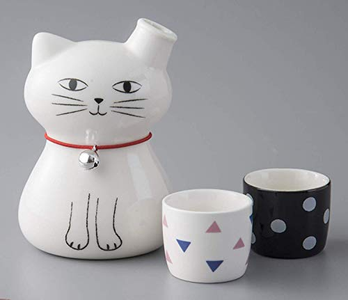 Okura Porcelain Cat Sake Set 2 Cups 40cc & 1 Cat-Shaped Decanter 270ml - White Cat and 2 Cups 147053