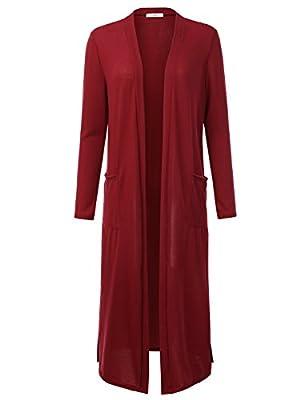 Doublju Womens Basic Thin Longline Open Front Cardigan