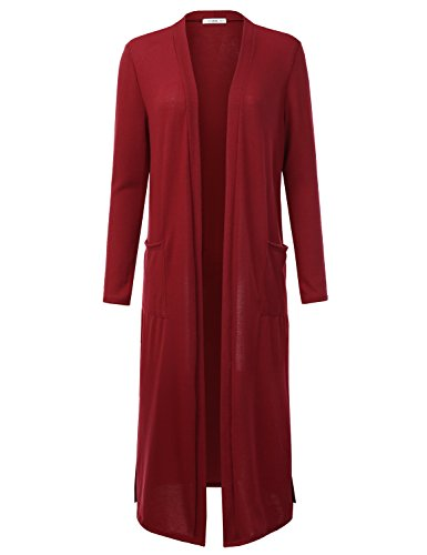 Doublju Soft Knit Thin Longline Open Front Cardigan for Women with Plus Size (Made in USA)