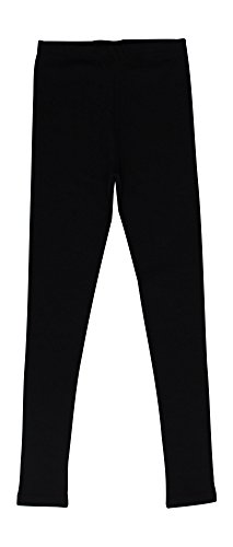 CAOMP Girls' %100 Organic Cotton Leggings for School or Play (13-14, Black) (Leggings Dress Play)