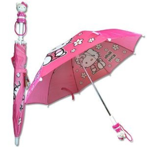 Official Licensed Hello Kitty Floral Umbrella with with Molded Handle
