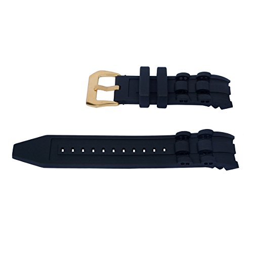 Vicdason for Invicta Pro Diver Watch Bands Replacement Strap with Bukcle - Black Rubber Silicone Invicta Watch Strap by Vicdason