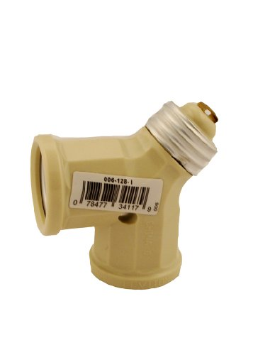 Leviton 128-I 15-Amp 660-Watt Twin Light-Socket Adapter, Ivory (Socket Light Twin Adapter)