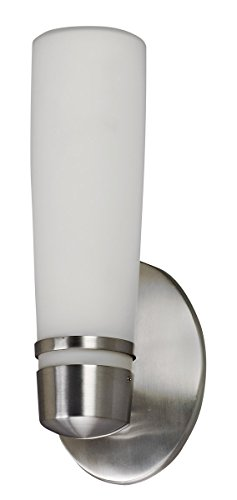 Lighting by AFX ARW113SNEC Aria 13-Watt Outdoor Sconce, Satin Nickel Finish with Opal White Glass ()