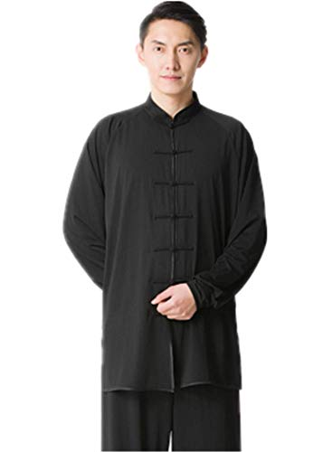 BJSFXDKJYXGS Tai Chi Uniform Luxurious Milk Silk Stretch Taichi Suits Traditional Tai Chi Clothing for Your Tai Chi Exercise(Milk Silk Black, XX-Large)