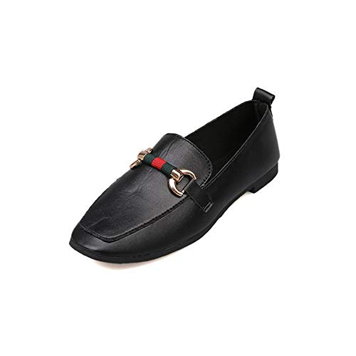 Women's Fashion Chunky Low Heel Platform Flat Loafers Square Toe Pumps Slip-on Dress Comfy Oxford Shoes Black from T-JULY