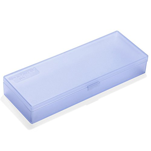 Unionway Transparent Pencil Case With Hinged Lid And 2 Snap Close Tabs Utility Mini Storage Tool Case For Holding Nails, Drill Bits,Comestic Brushes and More (BLUE)