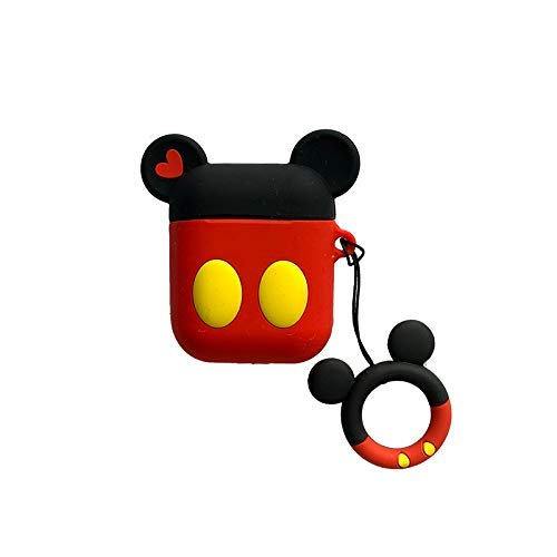 Keychain Air - Cute Red Black Cartoon Mouse Airpods 1 2 Shockproof Protector Silicone Cover with Keychain Ring Holder Custom Skin for Apple Air pods Earphone Charging Case (Red-Black-Mickey)