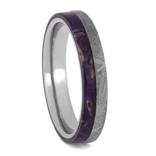 Gibeon Meteorite, Purple Box Elder Burl Wood Comfort-Fit Titanium Wedding Ring, Size 12.75