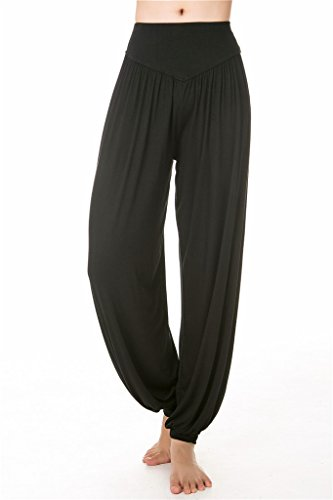 morbido da Yoga Spandex Fit Loose Leggings SIMYJOY Pantaloni Black Lunghi Pilates donna e per o Modal BgEqSH