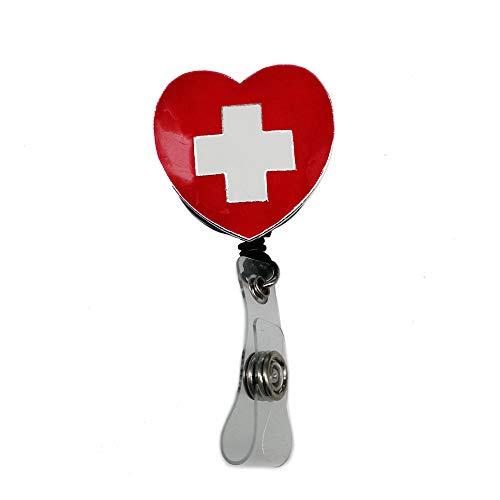 (Red Enamel Cross/Heart Nurse Retractable ID Badge Reel,Name Card Badge Holder,Pull Reel with Clip)