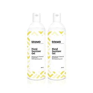 Amazon Brand – Solimo Hand Sanitizer Gel with Aloe vera, Vit E & Lemon Oil – 200ml – Pack of 2