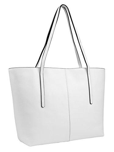 Obosoyo Women's Handbag Genuine Leather Tote Shoulder Bags Soft Hot (White Classic Tote)