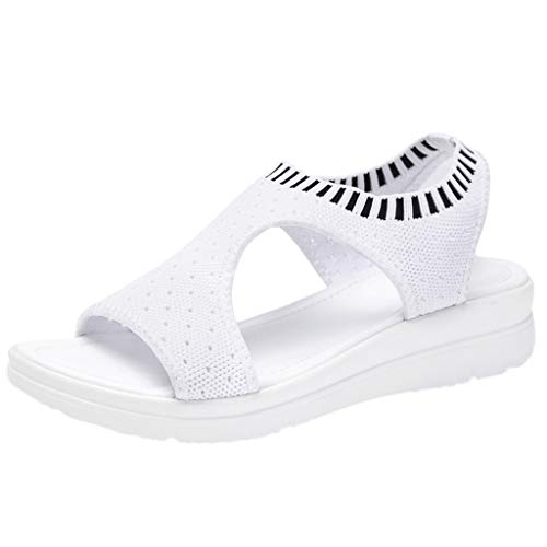 (Respctful✿Wedge Sandals for Women Casual Platform Wedge Shoe Ankle Strap Wedge Sandal Cross-Strap Wedge Sandal White)