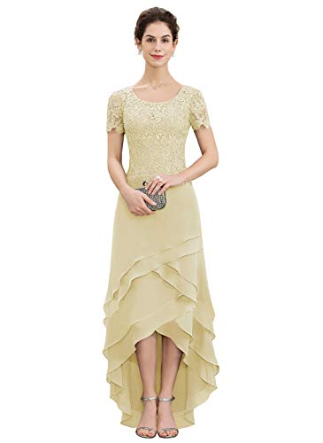 CJMY Women's A-Line Scoop Neck Chiffon Lace Mother of The Bride Dress with Cascading Ruffles Formal Prom Gowns Champagne 16