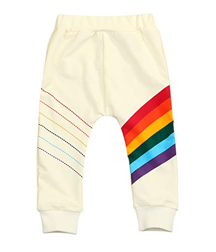 Younger star Baby Girls Springtime Soft Rainbow Top Blouse Long Sleeve Toddler Casual Tops (18-24 Months, Pants)