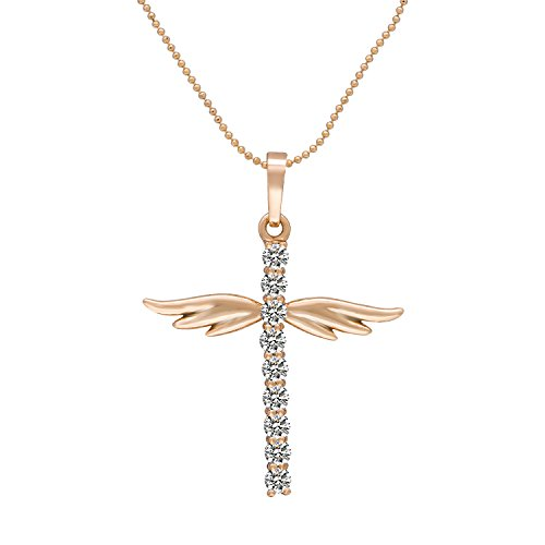 Romantic Time Bead Chain 18k Rose Gold Plated Diamond Angel Wings Cross Pendant Necklace (Roberto Coin Initial Necklace)