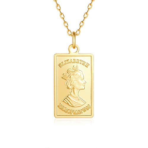 VACRONA Gold Square Pendant Necklaces,18K Gold Filled Dainty Elizabeth Ⅱ Queen Vintage British Engraved Rectangle Personalized Necklaces Jewelry for Women ()