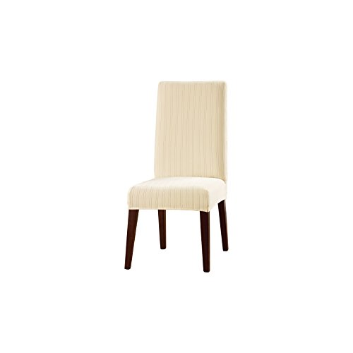 Sure Fit Stretch Pinstripe - Shorty Dining Room Chair Slipcover  - Cream (Microsuede Dining Chair Cover)
