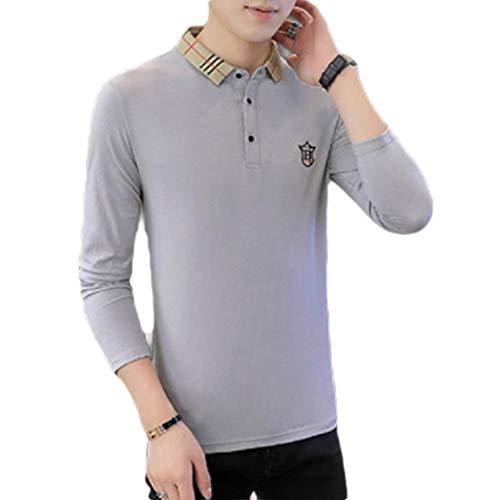 HEFASDM Homens cor sólida regular Fit relaxado Fit Basic Cotton camisas pólo Grey 2XL