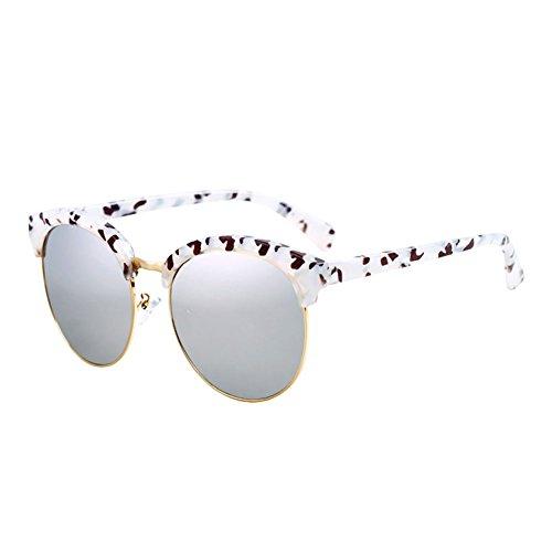 Gafas Redonda Gafas de Gafas Estilo Vintage DT Harajuku de 3 Señora UV de 5 Cara de Sol Protección Sol Color 17qwPwZY