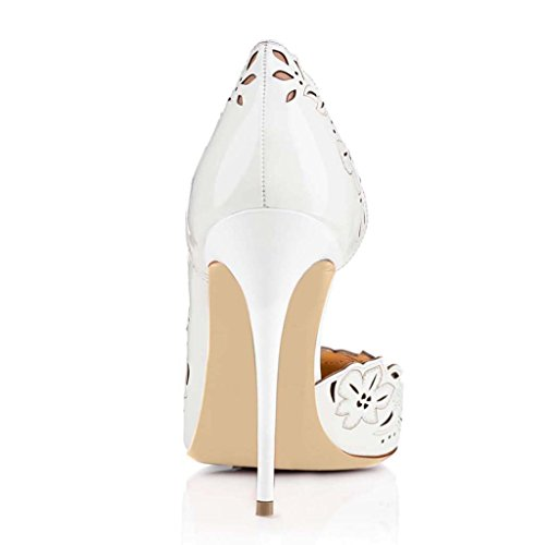 SHEO sandalias de tacón alto Señoras hueco punta de zapatos de charol un pedal de tacones altos Blanco