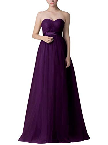 NaXY Womens Sheath-Column Floor Length Tulle Sleeveless Convertible Bridesmaid Dresses