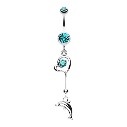 14 GA Dolphin Love Sparkle Dangle Belly Button Ring (Davana Enterprises) (14GA Teal)