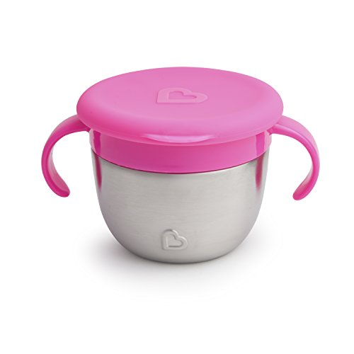 Munchkin Snack Plus Stainless Steel Snack Catcher, Pink