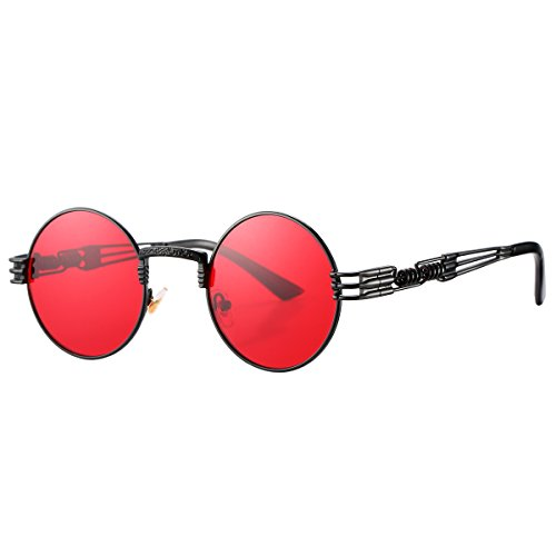 Pro Acme John Lennon Round Steampunk Sunglasses for Women Men Retro Metal Frame (Black Frame/Red Lens)