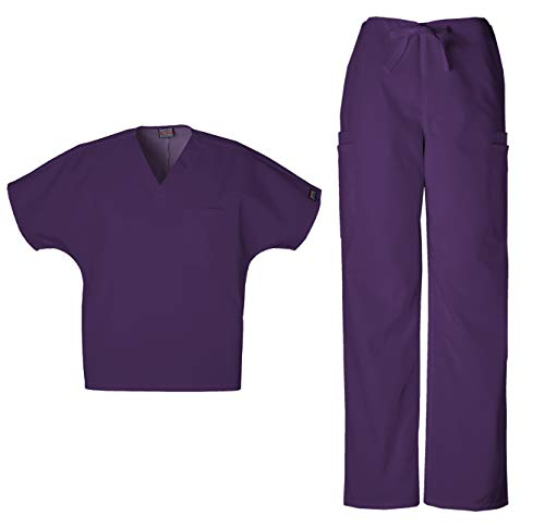 Cherokee Workwear Men's Dental/Medical Uniform Scrub Set - 4777 V-Neck Scrub Top & 4000 Drawstring Cargo Pants (New Eggplant - X-Large/X-Large) ()