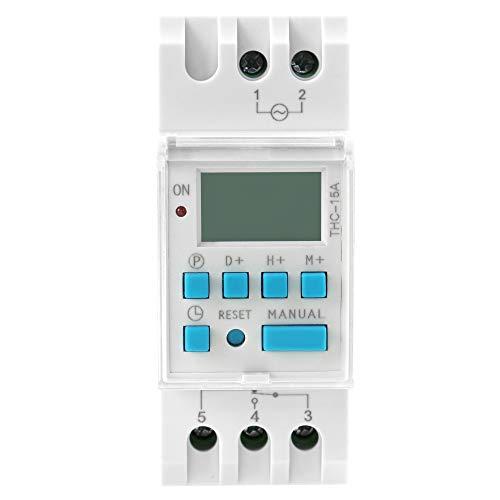GAEYAELE THC-15 Time Switch Weekly Programmable DIN Rail LCD Digital Timer Switch 16A ACDC 12V 24V 48V 110V 220V 240V (ACDC48V -