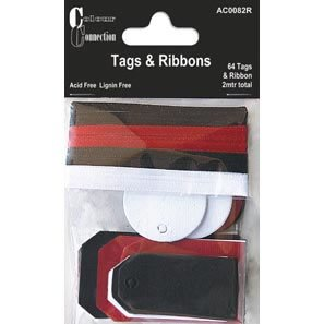 Craftime AC0082R Colour Connection Tags and Ribbons Classic