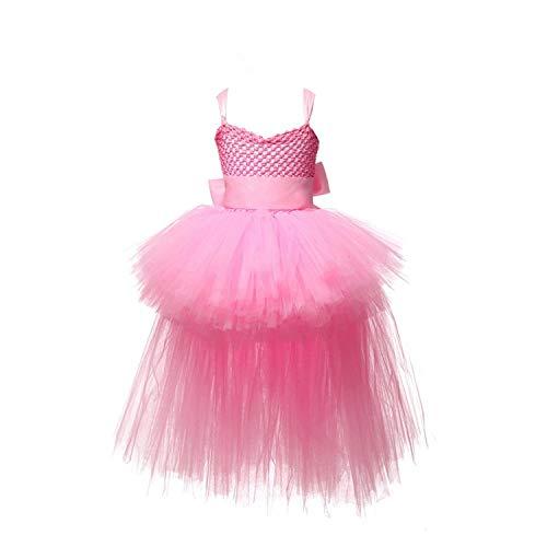 Dress Tulle V-Neck Train Girl Evening Birthday Party Dresses Kids Girl Ball Gown Dress,Pink,4T]()