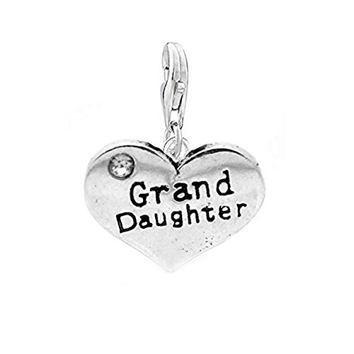 SEXY SPARKLES Clip on Grand Daughter Two Sided Heart Charm Pendant for European Jewelry with Lobster Clasp