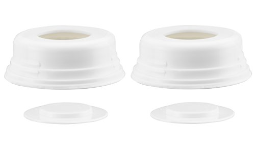 Ameda Breast Milk Storage Bottle Locking Ring and Disc Replacement Parts, White 2 Count, Compatible with All Ameda Breast Pumps and HygieniKit Milk Collection Systems, BPA Free and DEHP ()
