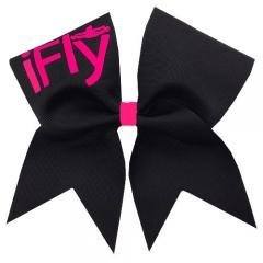 Chosen Bows New Black iFly Cheer Bow- Neon Pink Print