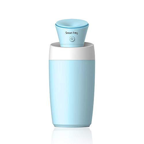 Mini Humidifier Diffuser 40ml Auto Shut Off Protection Portable Ultrasonic Silent Cool Air Humidifiers for Bedroom Home Office Desktop (Blue)