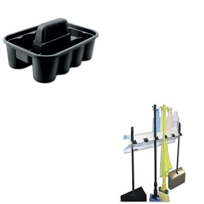 Deluxe Caddy Kit (KITEXC3336WHT2RCP315488BLA - Value Kit - Deluxe Black Carry Caddy (RCP315488BLA) and Ex-cell The Clincher Mop amp;amp; Broom Holder (EXC3336WHT2))