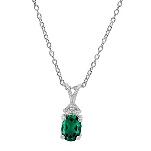 Oval Created Emerald Pendant - Dazzlingrock Collection 18K 7X5 MM Oval Created Emerald & Round Diamond Pendant (Silver Chain Included), White Gold