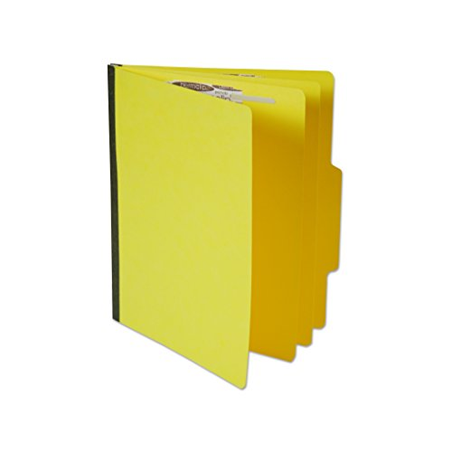 2 Dividers 6 Partitions Letter (Yellow Letter Size File Folder with 6 Permclip Fasteners and 2 Dividers, Top Tab (25/Box))